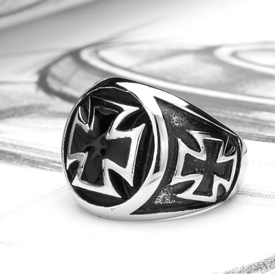 Vintage Punk Men's Stainless Steel Biker Rings 316L Band Silver Black Cross Party Hand Bone Gothic Jewelry Ring SS1057(China (Mainland))