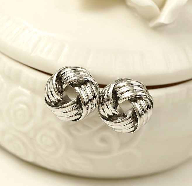 1Pair Gold/Silver Plated Rope Texture Love Knot Stud Earrings Fashion Jewelry(China (Mainland))