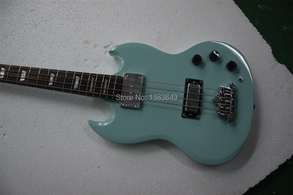 New Arrival Good Quality Factory Custom Shop SG 4 String Electric Bass Guitar Green Color Rosewood Fretboard Free Shipping(China (Mainland))