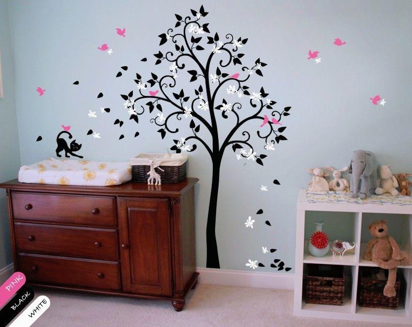 Nursery tree wall decal blossoms vinyl wall sticker cat for Diy tree wall mural
