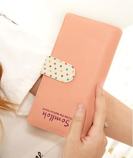2014 women sweet pink wallets women's design wallets lady change purse fashion dot wallets(China (Mainland))