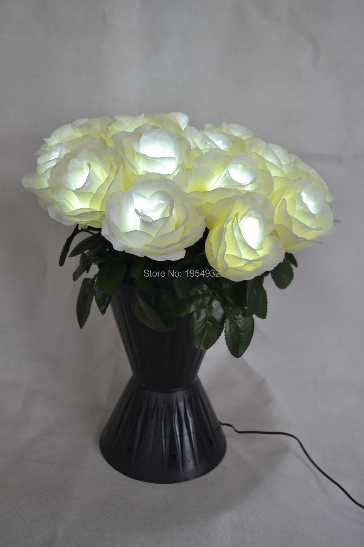 Free Shipping Timmer Battery Type LED Rose Flower bundle, Light Up Blossom Rose Wedding Decoration 19 LED Rose Love you forever(China (Mainland))