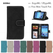 AiSMei 5.5 inch Funda Luxury Wallet Leather Cases Coque Asus Zenfone 2 ZE550ML Deluxe ZE551ML Case Cover Stand Holder Bags - Official Store store