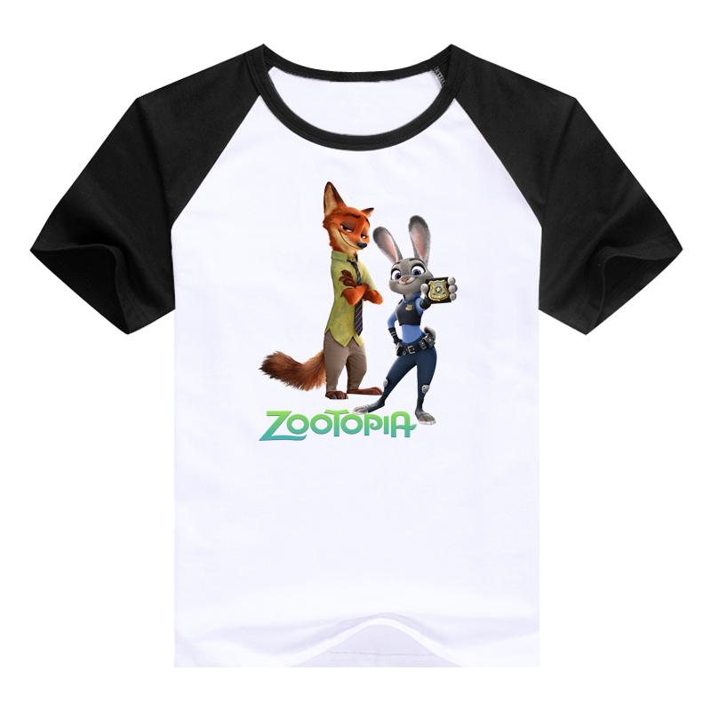 cute tees Cartoondesigned kids clothing hot cartoon Zootopia Judy Hopps Nick Wilde Flash children clothes t shirts(China (Mainland))