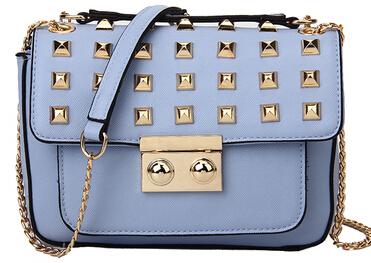 Fashion Mini Sloan Stud Flap Bag Chain Shoulder Bag Genuine Leather Bag Women Leather Handbag Bolsas Messenger Bag Dustbag(China (Mainland))