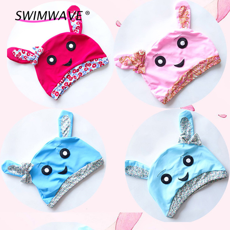 Summer Children Lovely Swimming Caps Cartoon Rabbit Print Kids Pool Hats Swim Diving Sportswear Swimming Headwear Accessories#(China (Mainland))
