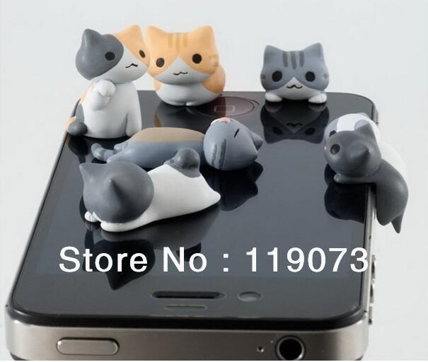 30 pcs 3d mignon chat en forme couteur jack bouchon anti poussi re pour iphone mobile. Black Bedroom Furniture Sets. Home Design Ideas