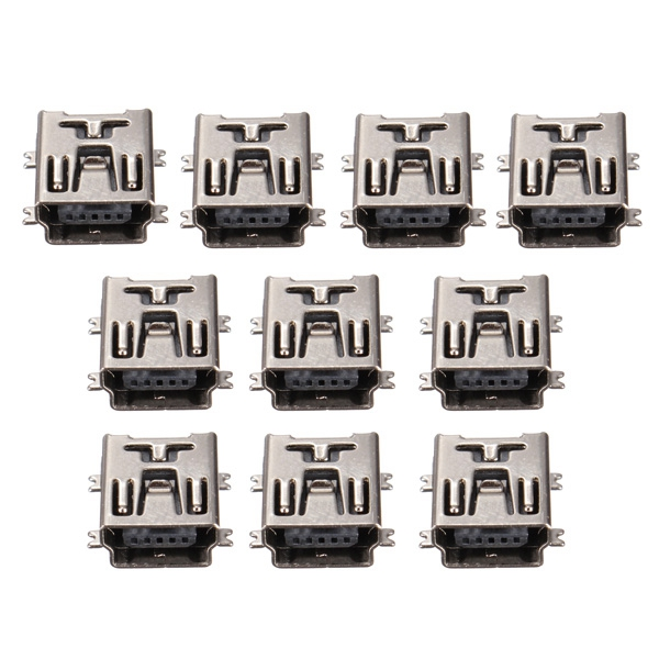 New Arrvial!!! Pack of 10 Mini USB Type B SMD Female Socket 5-Pin 5 Pin Jack Connector Port New(China (Mainland))