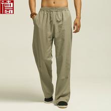 Cotton and linen tang suit leisure men s trousers elastic trousers slacks tai chi exercise