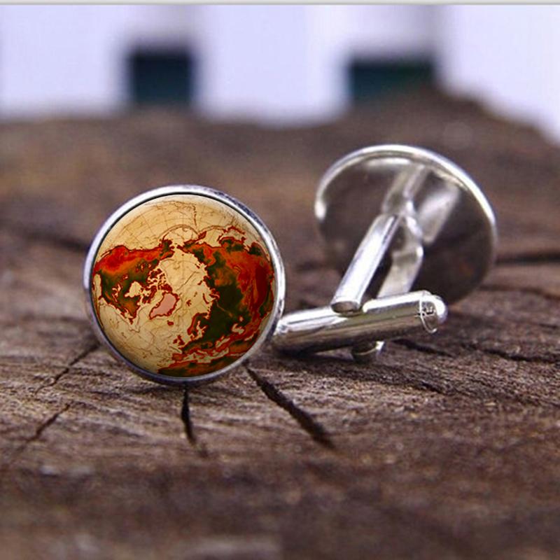 1 pair men cufflinks bronze Compass Design Cuff link accessories Men high quality photo cufflinks jewelry glass cufflinks(China (Mainland))