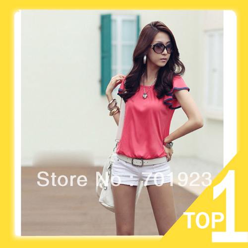 Free shipping New Fashion Women's Lady Clothing Butterfly Short Sleeve Casual Shirt Cotton Loose Y6190(China (Mainland))