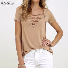 Buy ZANZEA Women 2017 Summer Sexy V Neck Blouses Short Sleeve Casual Hollow Lace Solid Shirts Plus Size Blusas Tee Tops for $5.13 in AliExpress store