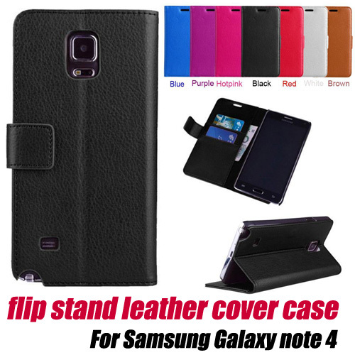 10pcs/lot.Leather Wallet Card Holder Flip Case Cover stand for Samsung Galaxy note 4,free shipping