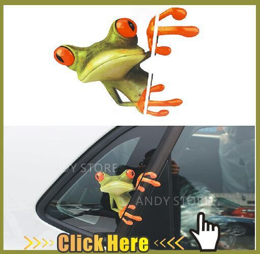 New 3D Cartoon Peep Frog Funny Car Stickers Truck Window Decal Sticker Free Shipping Novelty Decal Graphics(China (Mainland))