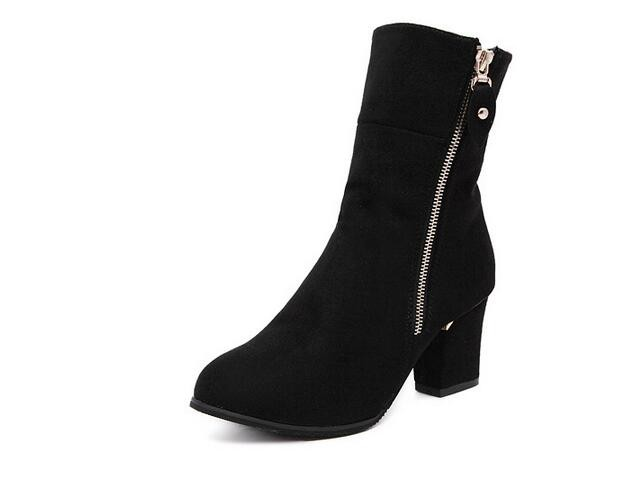 Free Shipping woman shoes Autumn and winter 2017New Europe nubuck leather high-heeled fashion tip British style Martin boots
