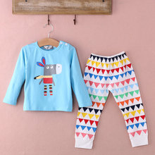 2015 Toddler Baby Girls Boy Long Sleeve Tops+Pants 2Pcs sleepwear(China (Mainland))