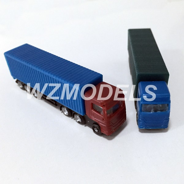 Hot sale 10pcs 1;200 architectural model layout miniature truck plastic model container truck(China (Mainland))