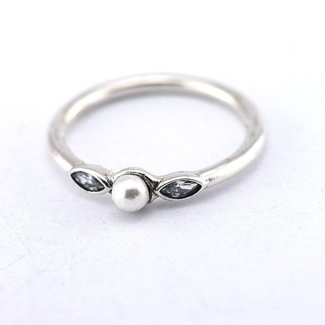 Серебро 925 ювелирных изделий нежный кольцо белый жемчуг и ясно CZ женщины кольцо женщины DIY мода аксессуары и украшения