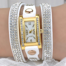 2015 Jewelry Bracelet Women Rhinestones Quartz Bracelet Watch Timepiece with PU Leather Watches PMHM560*90