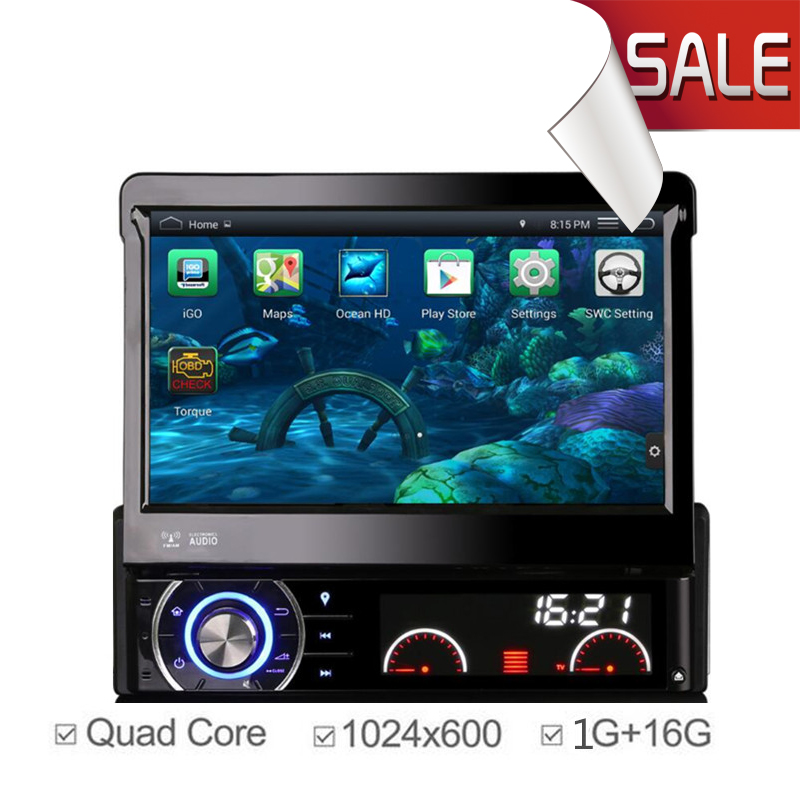 7 inch Android 4.4.4 1DIN Touchscreen Car DVD Player 1024*600 GPS Navigation Car Stereo Radio Bluetooth Steering Wheel Control(China (Mainland))