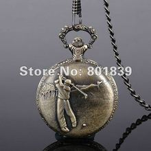 Vintage Style Bronze Golfer Mens Hit Golf Ball Pocket Watch With Chain Nice Gift Wholesale Price H149(China (Mainland))