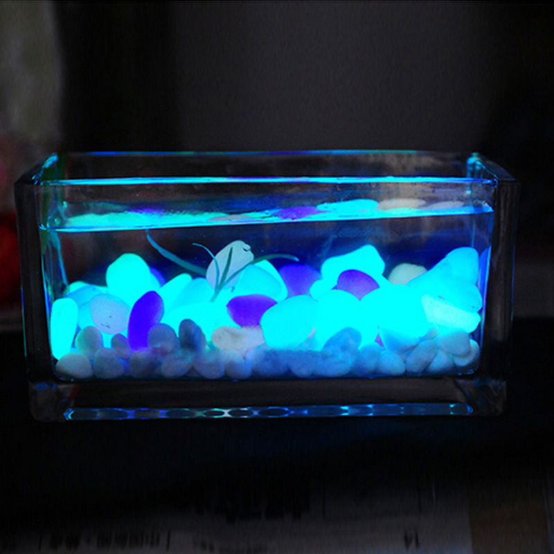 10pcs Luminous light emitting pebble stone Fish Tank Aquarium Decoration Artificial Fish Tank Color Random(China (Mainland))