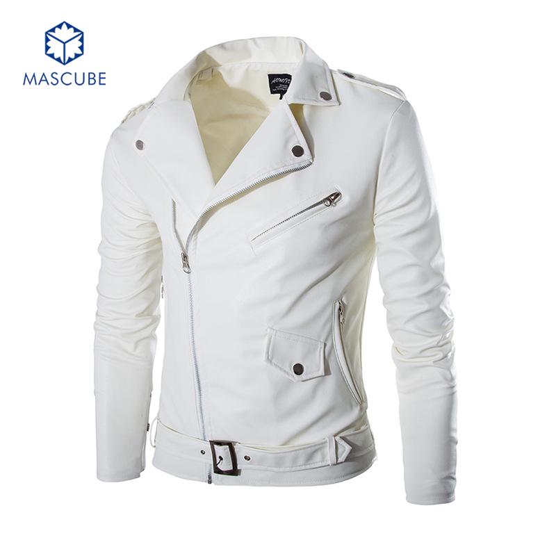 Slim Brand New Winter 2015 Mens White Leather Jackets jaqueta de couro Jacket Men Long Leather Coat Men Leather Jackets for Men(China (Mainland))