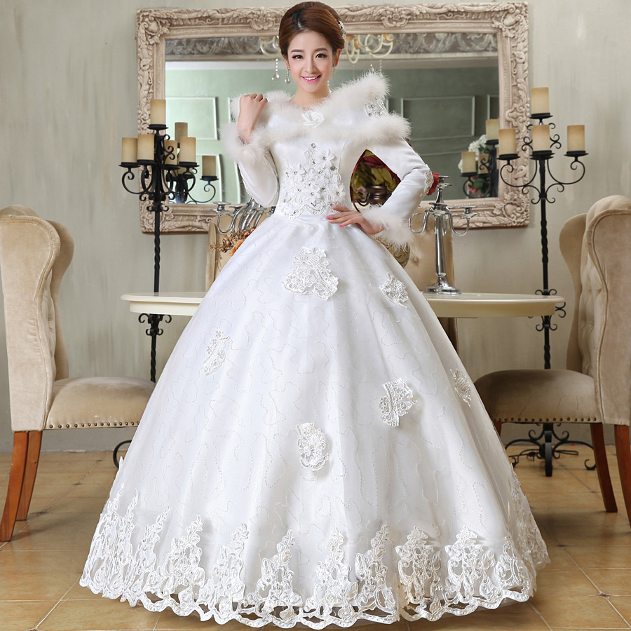 Winter wedding dress formal dress 2014 bride fashion long for Winter wedding guest dresses with sleeves