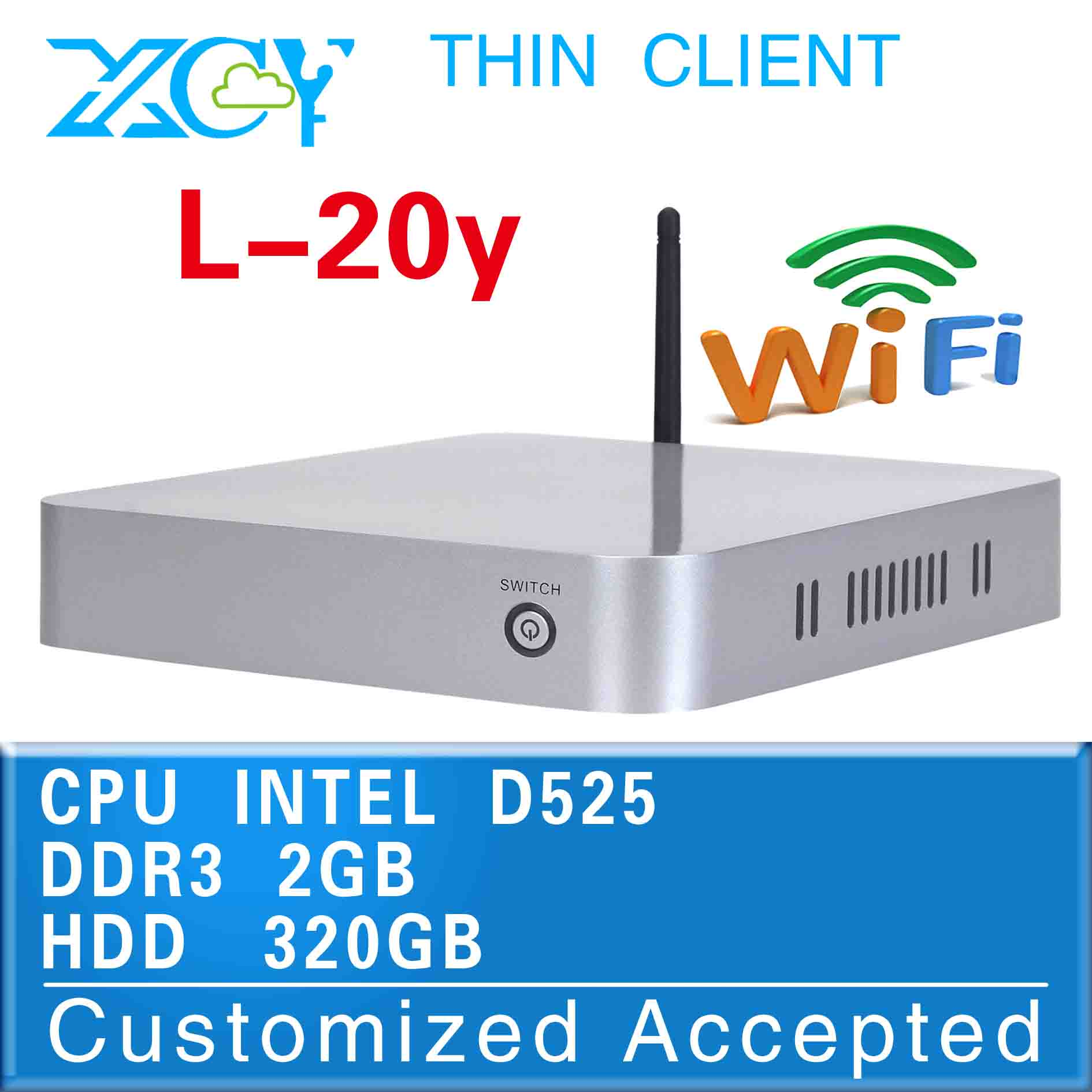 mini itx linux micro pc virtual desktop L-20Y D525 2G RAM 320G HDD support Linux OS Ubuntu facrory competitive price(China (Mainland))