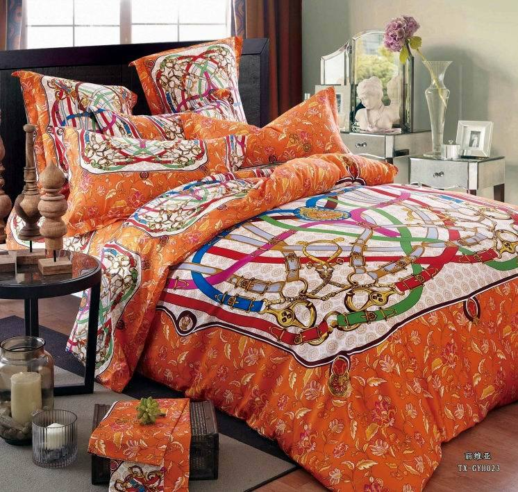 Orange egyptian cotton luxury hotel bedding comforter set for Luxury cotton comforter sets