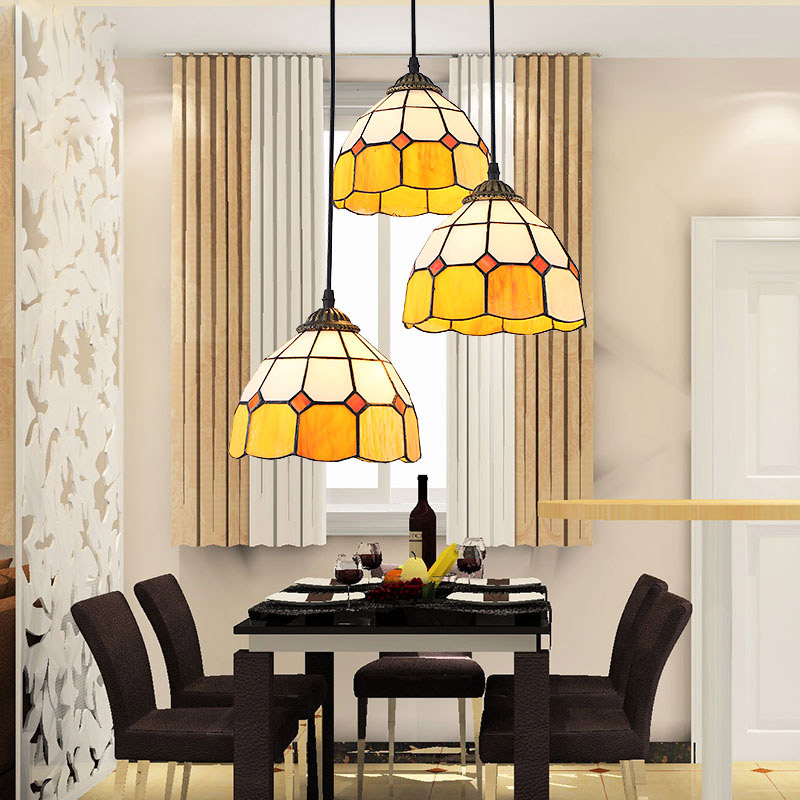 Mediterranean Continental Iron chandelier bedroom living room 3 heads light restaurant Tiffany Stained Glass Art hanging lamp(China (Mainland))