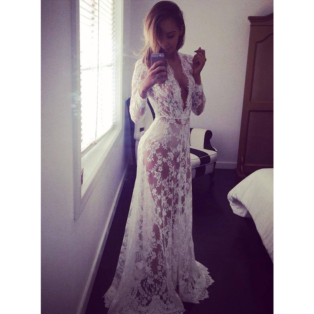 Summer style sexy lace transperant white beach dress for Long sleeve lace maternity wedding dress