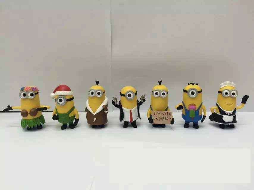 Despicable Me 2&3 7PCS/set Minions Toy action Figures 3D eye Toys doll Decoration Brinquedos Kids Toy Gift 0580(China (Mainland))