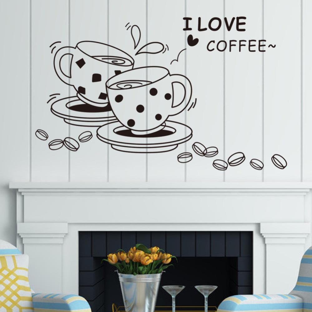 I love coffee wall decal removable cute coffee cup wall