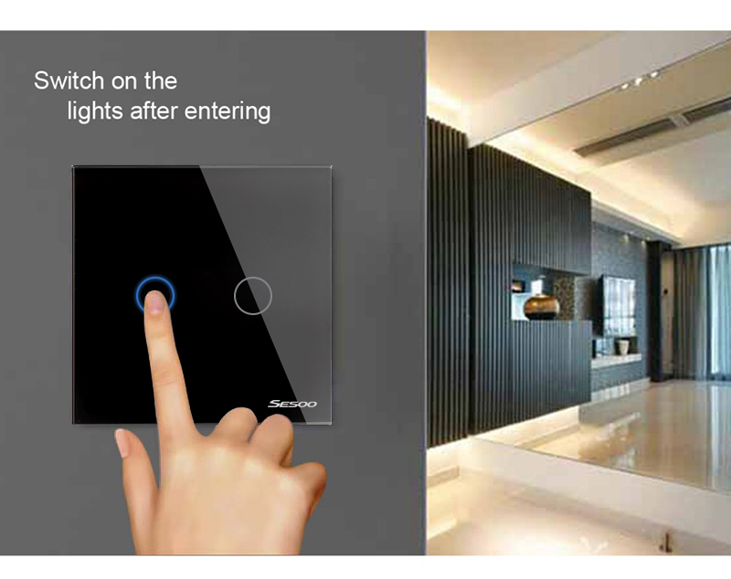 SESOO EU/UK Universal Wall Light Switch 110-220V Crystal Glass Panel Switch 2 Gang 1 Way Waterproof Touch Control