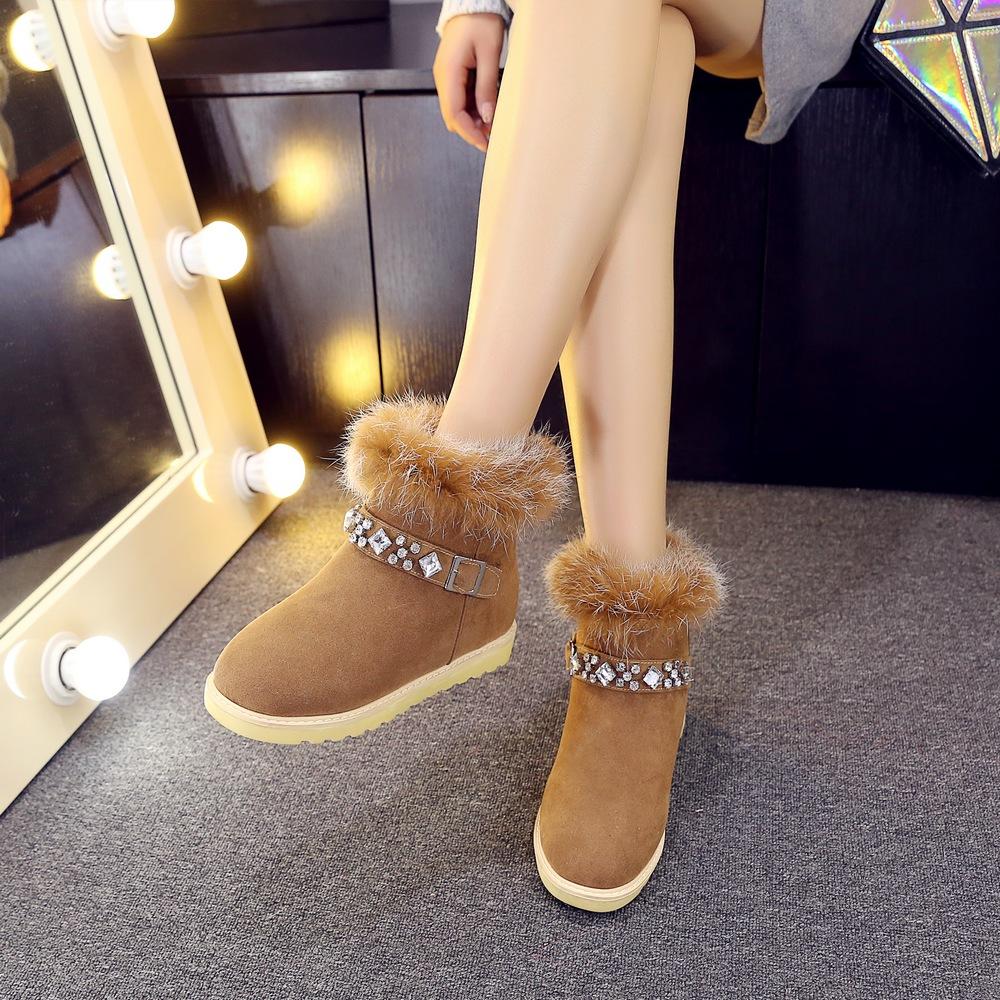 Korean Womens Flat Heel Fur Trim Ankle Snow Boots Rhinestone Ladies Buckle Shoes Pull On 9900-8(China (Mainland))