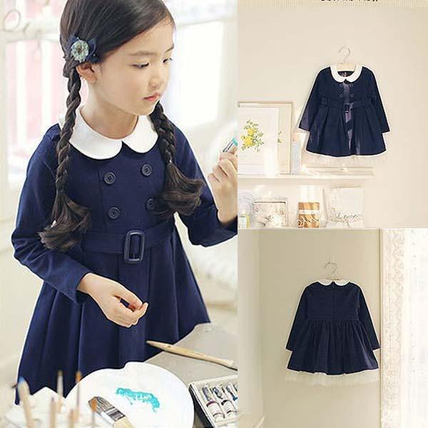 1Piece Kids Baby Girls Long Sleeve Lapel Belt Buttons Dress Academy Pattern Costume(China (Mainland))
