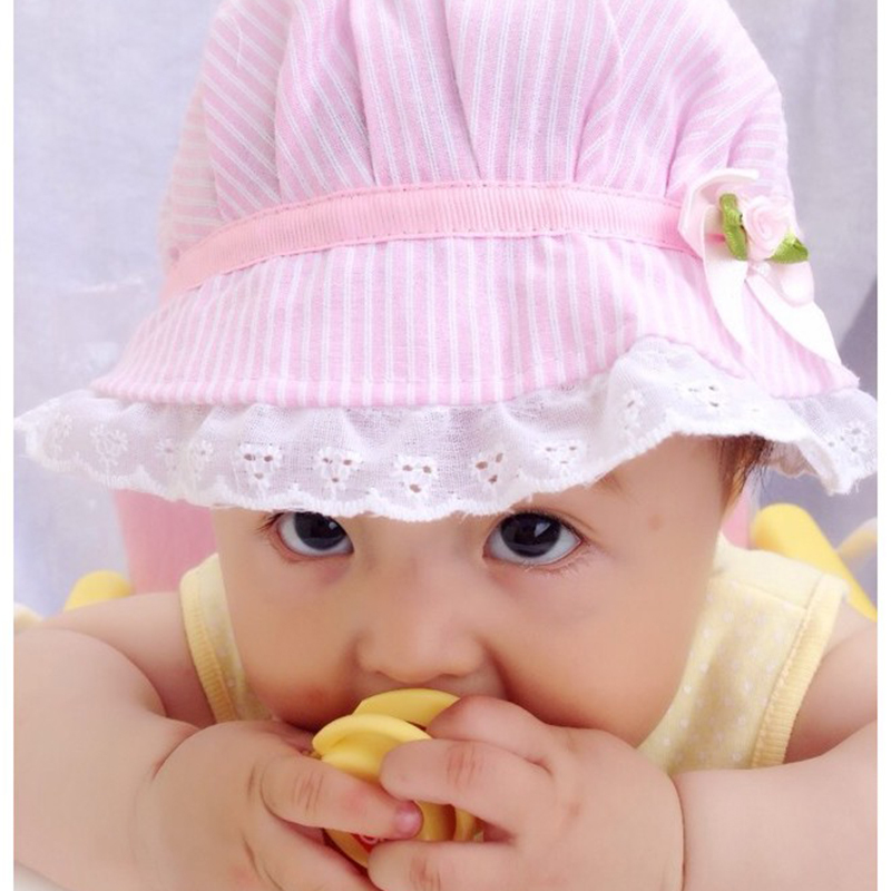2015 free shopping New Hot Sale Fashion Lovely Lace Bowknot Summer Unisex Children's Baby Sun Hat Cap #L03086(China (Mainland))