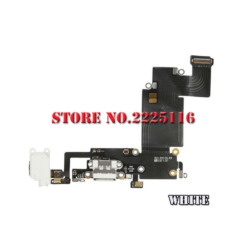 10pcs/lot New White Black Gray Charging charger Port USB Connector Dock Headphone Audio Jack Flex Cable For iPhone 6S Plus(China (Mainland))