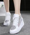 7cm High Fashion Cutouts White Floral canvas shoes hollow breathable platform Wedge shoes Women casual mesh