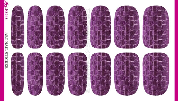 3D PU Style Purple Stones Pattern Design Water Transfer Nails Stickers Manicure Styling Tools Water Film Paper Decals(China (Mainland))