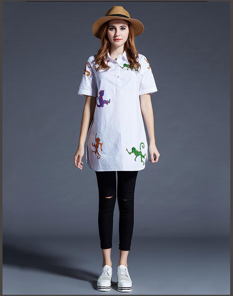 Plus size 5xl women fashion summer solid color cotton short sleeve blouse shirt white casual print loose blouses shirts ZB1187