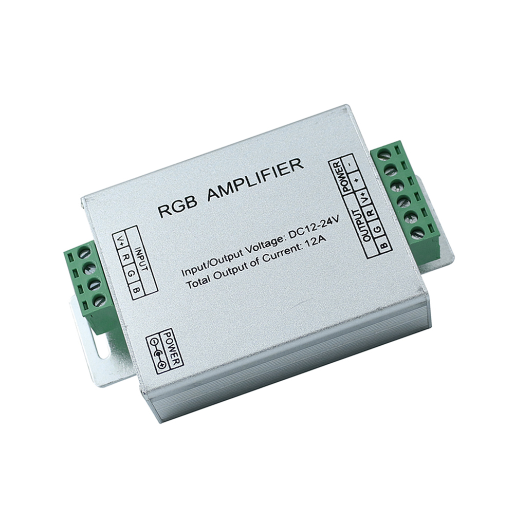 DC12-24V Input 12A Repeater Aluminum Case Controller RGB Signal Amplifier for SMD 3528 5050 LED Strip Light  free shipping<br><br>Aliexpress