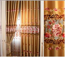 Fashion cutout embroidered water soluble embroidery window screening curtain quality rich flowers