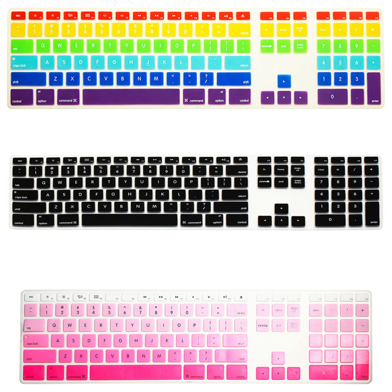 For Apple iMac Desktop Protector Flim Colorful Silicone Keyboard Cover Skin With Numeric Keypad For Apple iMac G5/G6(China (Mainland))