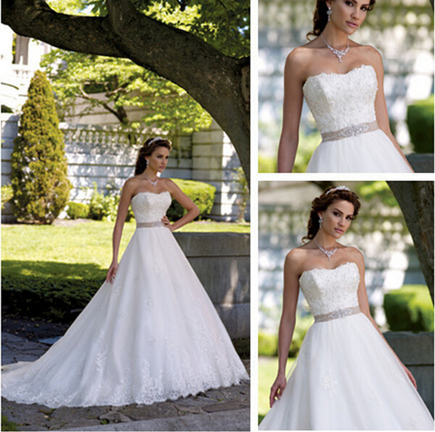 Wedding dresses 2016 new a line strapless with sashes for Wedding dresses with sashes