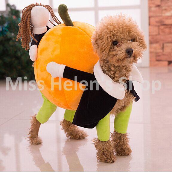 New Funny Pumpkin Dog Costumes Halloween Novel Pumpkin Pet Coat Fleece Small Dog Super Cute Costumes Fancy Pet Clothes(China (Mainland))