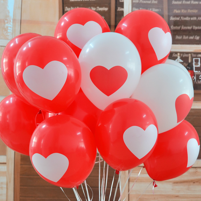 Free Shipping 10pcs Heart Balloons For Couples Romantic Decorate Baloon White and Red Color for Valentine's Day Decoration(China (Mainland))