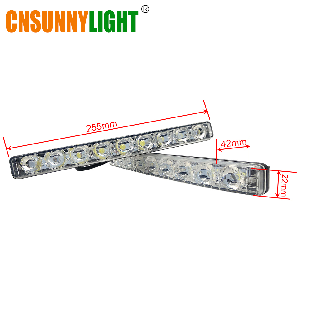 CNSUNNYLIGHT LED DRL Car Daytime Running Lights Daylight Styling Automotives Led Fog light 9 LEDs Super Bright 6000K Waterproof (10)
