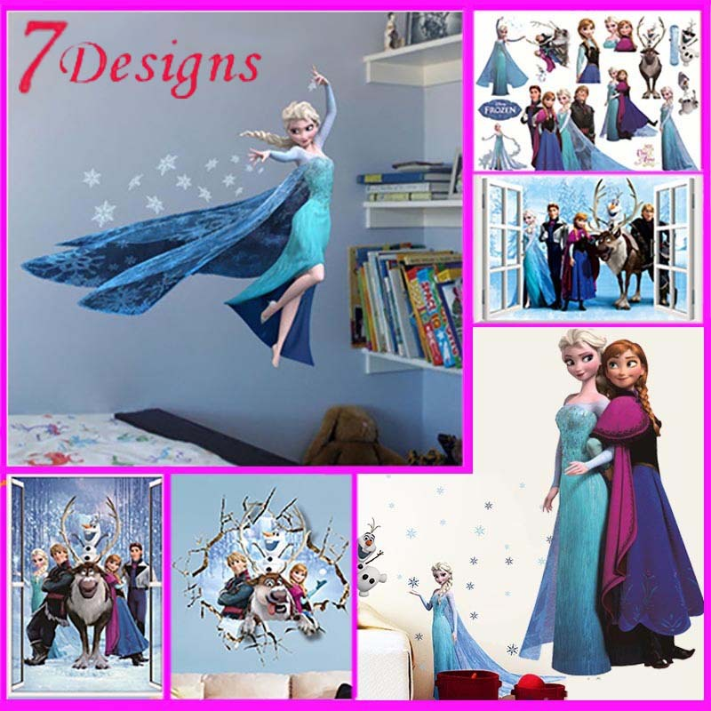hot movie wall stickers kids bedroom decorations 1418. cartoon film elsa anna olaf hans home decals children girls mural art 4.0(China (Mainland))